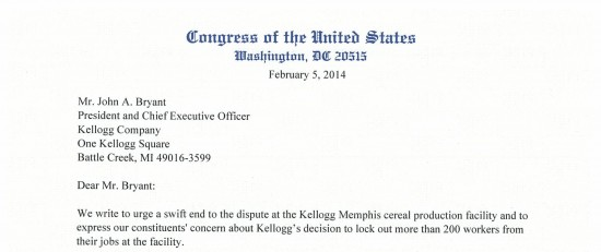 Leading Members of the United States Congress Urge Kellogg to End Lockout