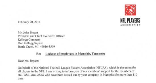 NFLPA Letter to Kellogg