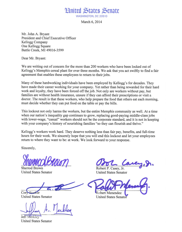 Us senators call on kellogg to end memphis lockout bctgm the click here or on the image below to read the full letter ccuart Image collections