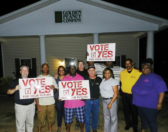 Pictured here after the final votes were counted is (from left, front row) Intl. Rep. David Woods, Randy Williams, George Key, Tony Sanders, L. 42 Bus. Agt. Zach Townsend and L. 149 Pres./GEB member Letitia Malone, (from left, back row) Vanessa Corbitt, Allan Wright, Joseph Dickens and Phyllis Dickens.